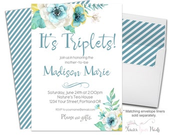 Triplets Baby Shower Invitation, Triplets Baby Shower Invite, Baby Shower Invitations Boy, Triplets Invitation, Baby Shower Invites