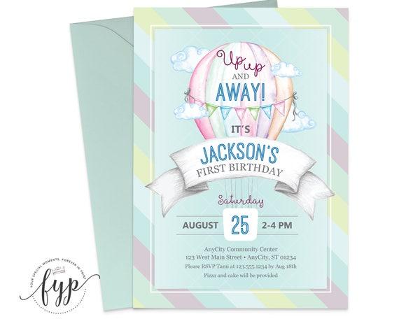 Boys 1st Birthday Invitation Up Up and Away Birthday Invite Hot