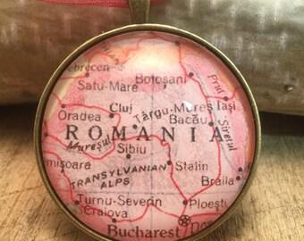 Romania Map Christmas Ornament, Keep a memory Alive , HONEYMOON Gift , Wedding Map Gift , Travel, Tree Ornament, coworker gift , custom gift