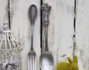 ON SALE Ex large Fork and Spoon Wall Decor / Shabby Chic / Rustic / Kitchen Wall Decor /Antique Silver