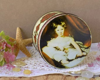 Art Portrait Vintage Tin. Storage Container. Murray Allen Old Masters Imported Quality Confections. Master Ainslie. Sir Thomas Lawrence.