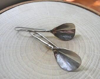 Large Silver Leaf Statement Earrings In Nature Handmade Long Drop Earrings