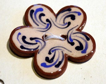 Handmade ceramic buttons - large blue flower button C57