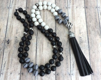 Black and White Mala Necklace - Black Beaded Tassel Necklace - Leather Tassel Necklace - Black and White Jewelry - Black and White Accessory