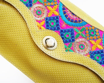 Bright yellow leather handbag, Leather embroidered boho purse, Colorful evening bag, Women's cross body purse