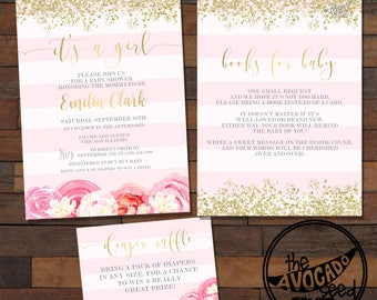 Shabby Chic Pink and Gold Invitation - Bring a Book - Diaper Raffle - DIY Printing or Professional Prints via Convo