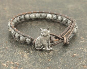 Gray Cat Bracelet Gemstone and Leather Cat Jewelry