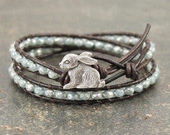 Bunny Jewelry Silver and Turquoise Bunny Bracelet Boho Rabbit Jewelry Leather Rabbit Bracelet