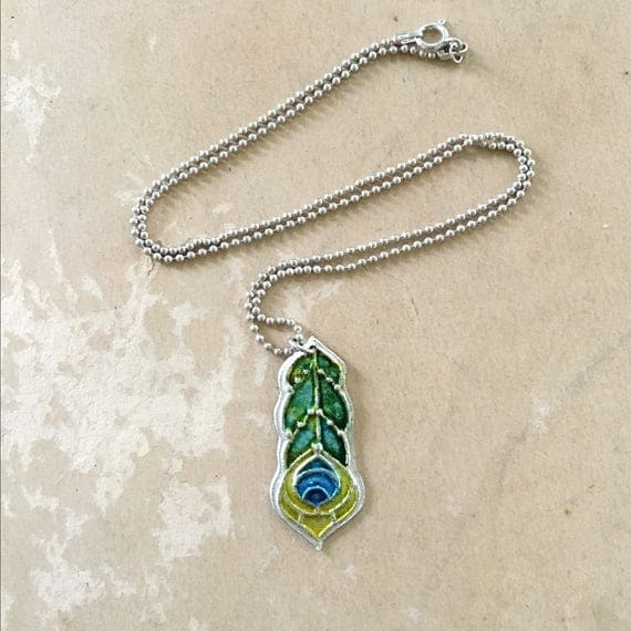 Stained Glass Feather | Peacock Jewelry | Feather Charm | Alcohol Ink Jewelry