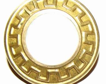 Antique Button ~ Metal Button Mother of Pearl Center Greek Key Border & Paris Back Mark