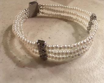 White Pearl Bracelet - Silver Jewelry - June Birthstone Jewellery - Bride - Triple Strand - Box Clasp