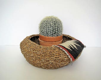 Vintage woven basket/ large round basket/ rolled top basket/boho decor/plant container