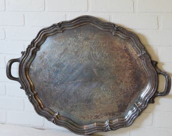 Large Silver Waiters Tray, Large Silver Serving Tray, Oval Silver Tray, Silver Waiters Tray, Vintage Hotel Silver, Reed and Barton Tray