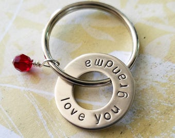 Love You Grandma Gift Christmas Hand Stamped Nickel Silver Washer Key Chain - Grandparent Birthday Christmas - with Pearl or Birthstone Bead
