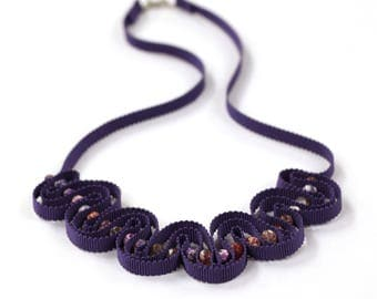 Violet ribbon necklace handstitched with beads