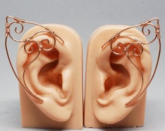 SALE - Copper Elf Ear Cuffs, Triple Spiral Elf Ears, Elf Ear Wrap - PAIR - Fantasy and Cosplay Accessories