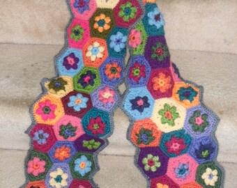 Handmade Crochet Multicolor Hexagon Granny Square Scarf