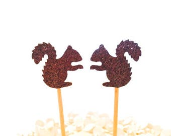 24 Brown Glitter Squirrel Cupcake Toppers Food Picks Party Picks