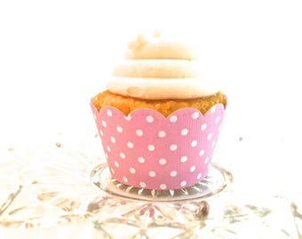 12 Scalloped Light Pink Polka Dot Cupcake Wrappers