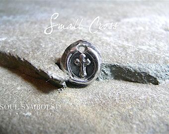 a LITTLE FAITH -- Handmade Wax Seal Jewelry Sterling  Silver Cross Pendant-- Also Avail. in Antique BRONZE Your Daily Jewels