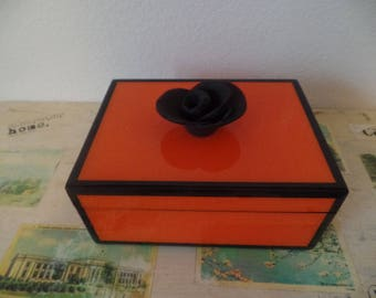 Mid Century Style Color Block Black Orange High Gloss Lacquer Box with Rose Knob