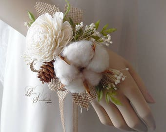 Ships in 5 days ~~~ Rustic Sola Flower & Cotton Boll Wedding Corsage. Can be worn as a wrist corsage or pin on.