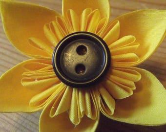 Yellow and Black Sunflower Fabric Handmade Fabric Origami Brooch Pin