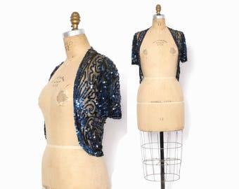 Vintage 30s SEQUIN Bolero / 1930s - 40s Blue Sequin Net Lace Cropped Evening Jacket