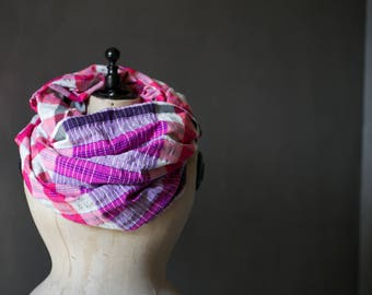 Handwoven Balinese textile  - infinity scarf or use as a swimsuit cover up