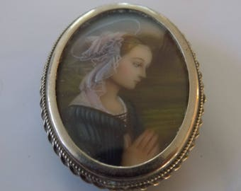 Antique brooch,Arts and Crafts brooch hand painted Madonna Delle Rocci  Filippo Lippi ,early 1900's Italian