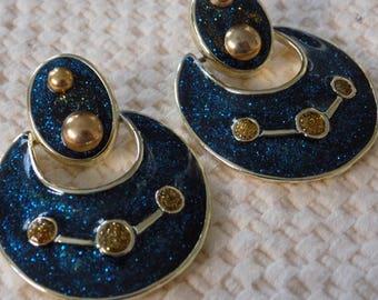 Vintage earrings,doorknocker earrings,teal enamel studs,stud earrings,big bold earrings,drop earrings,statement earrings