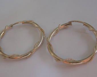 """Vintage sterling silver 925 signed """"ADAM""""rope twist hoop earrings, jewelry"""