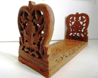 Hand Carved Wood Adjustable Folding Book Rack, Vintage India