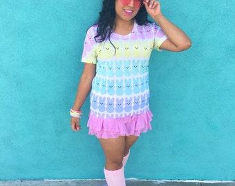 Marshmallow Rainbunnies Sublimation women's crew neck t-shirt