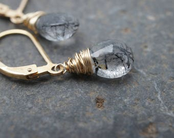 Urban Glam in Gold Earrings - AA Tourmalated Quartz Faceted Pear Briolette - 14K Gold Fill - Black and Clear