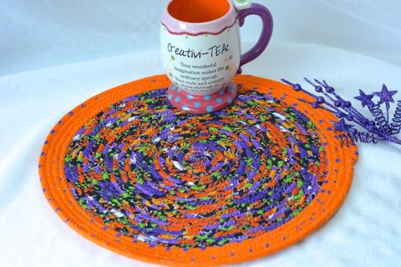 "Cute Kitchen Trivet, Halloween Decoration, Handmade Orange Mug Rug, 12""  Place Mat, Lovely Black and Orange Table Mat, Hot Pad"
