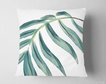 Palm Leaf Tropical Pillow , Watercolor Palm Leaf Pillow , Tropical Nursery Decor , Nautical Pillow Decor , Beach Tropical Art Pillow