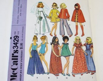 """Barbie Clothes Pattern Simplicity 3429: Doll Clothes for 11 1/2"""" Fashion Dolls (2002) UNCUT - Sewing Pattern"""