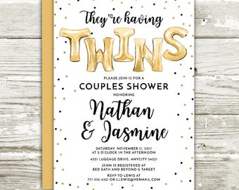 Gold Foil Balloons and Glitter Couple's Shower Baby Shower Twins Printable Invitation, Gender Neutral Baby Shower Invitation