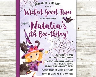 Halloween Witches Party Birthday Invitation, Witches Costume Halloween Birthday Printable Invitation