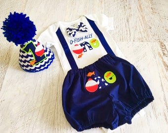 O-Fish-Ally One and Big One Fish Themed First Birthday Suspender Bodysuit with Removable Bow Tie