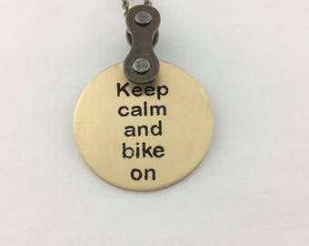 Keep calm and bike on, bicycle accessories, bike jewelry, mtb pendant, road bike gift, bmx necklace, fixie jewelry, Tour de France