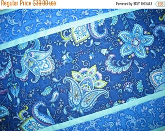 Sale Christmas in July Floral Table Runner, quilted, blue, quilted table runner, handmade,  Wall Hanging fabric from Timeless Treasures by C
