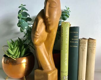 Mid Century Wooden Bust Embracing Couple