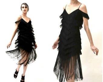 SALE Vintage Black Flapper Fringe Dress Size Small// Vintage 70s does 20s Black Fringe Party Dress Size Small by TD4
