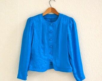 SALE Vintage Silk Jacket size Small Teal Turquoise // Vintage Blue Jacket Silk Shirt Size Small Turquoise Teal Floral Jacquard