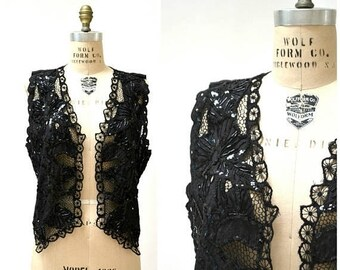 SALE Vintage Black Boho Vest Sequin Vest Crochet Lace Vest Festival Boho Vest Size Medium