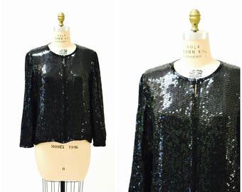 Vintage Black Sequin Jacket Large// Black Silk Sequin Jacket Size Large Holiday Metallic Sequin Jacket