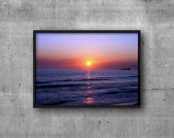 Sunset Photography - Digital Download - Manhattan Beach Sunset Photo - California Beach Decor - Beach House Wall Art - Freighter Print