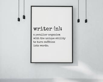 Gift for Writers - DIGITAL DOWNLOAD - Writer Definition Print - Writer Dictionary Poster - Modern Dictionary Typography Print - Writing